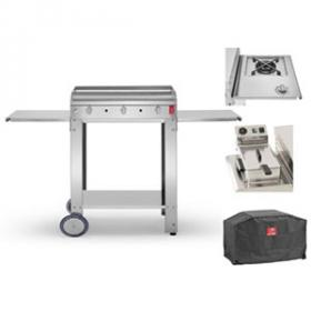pack Plancha CHEF 80 L + Housse + Chariot ouvert + Feu Dual + Friteuse  face